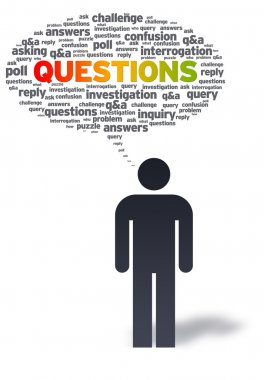 Paper Man with questions Bubble