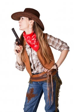 An isolated photo of a cowgirl with a gun