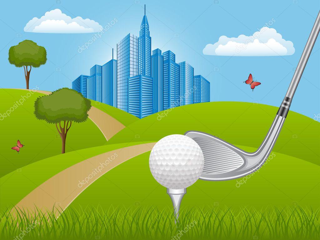 Summer landscape with golf club
