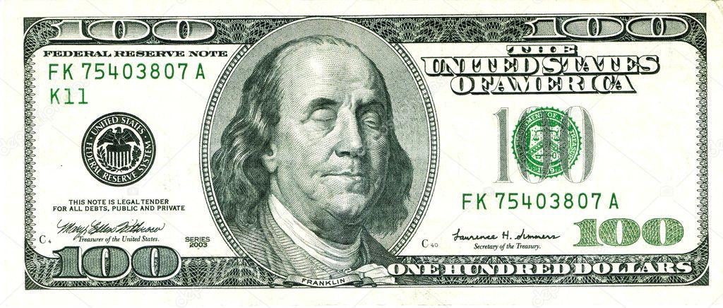 Closed Eyed Franklin 100 US Dollar Bill — Stock Photo