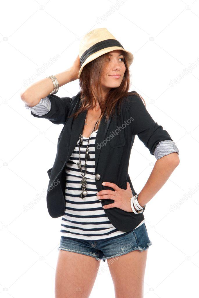 2d29d6bc5 Mulher morena de corpo completo lindo jovem feliz dançando pose vencedora  no pano casual com cabelo ventoso isolado em um fundo branco — Fotografia  por ...