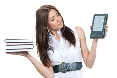 Female compare books and new wireless reading digital book