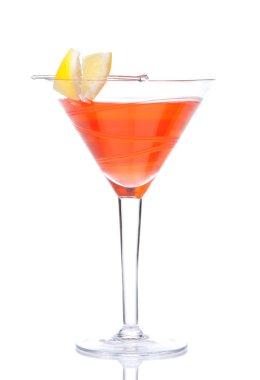 Cosmopolitan cocktail decorated with citrus lemon in martini coc