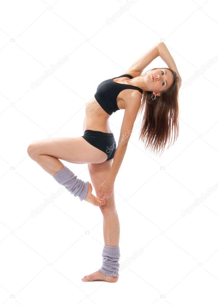 Pretty slim jazz modern contemporary style woman ballet dancer
