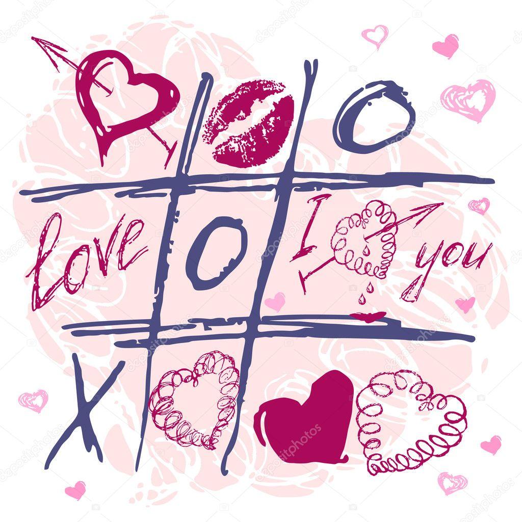 Hand drawn Tic Tac Toe Hearts, Valentine background. The valentine's day. Love heart. Hand-drawn icons symbols. Art vector illustration. clipart vector