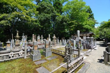 The historic cemetery at Eikan-do in Kyoto, Japan. stock vector