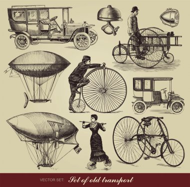 Vector set of old transport clip art vector