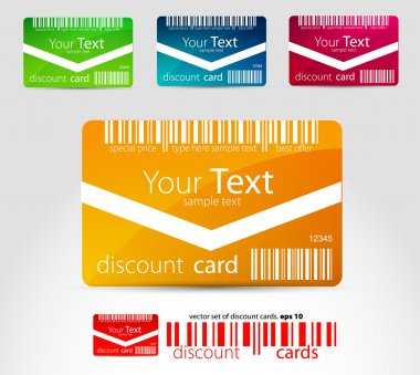 Set of horizontal discount cards