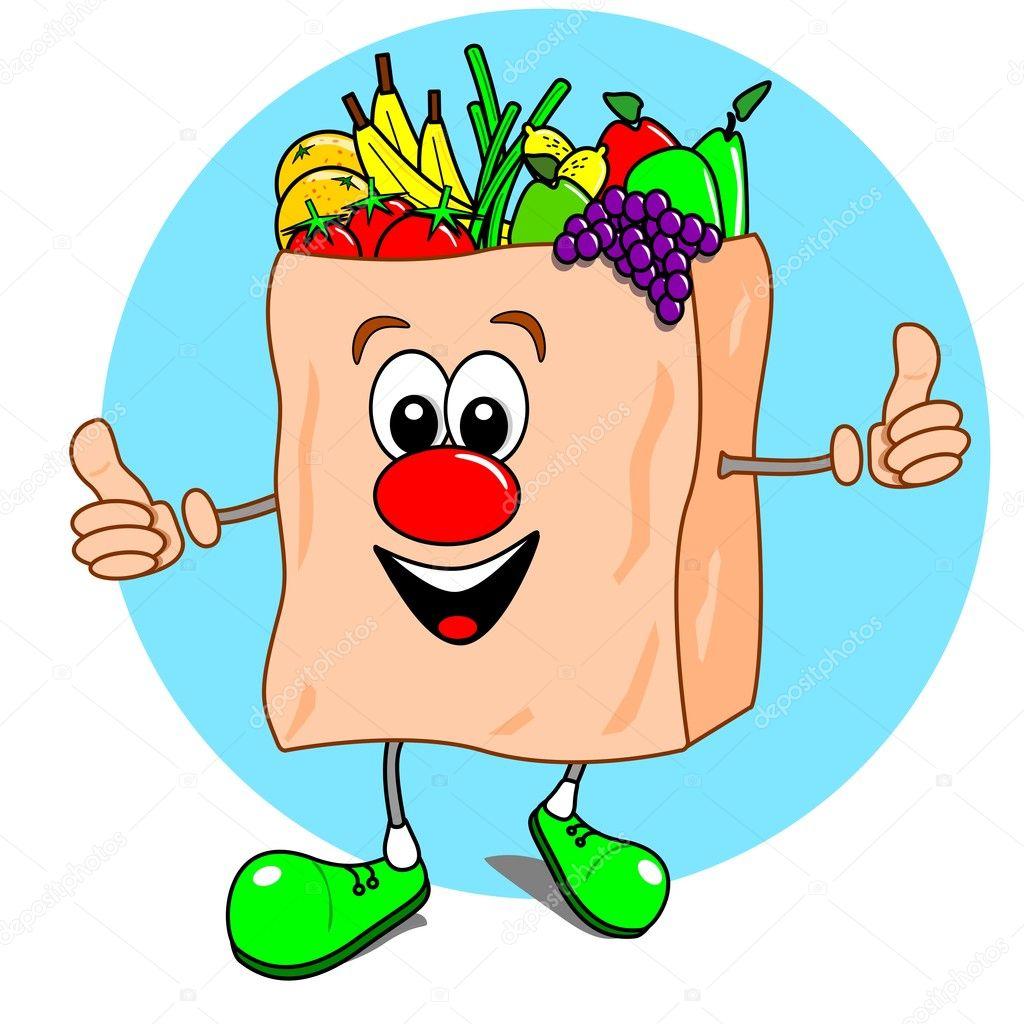 Cartoon shopping bag with fruit