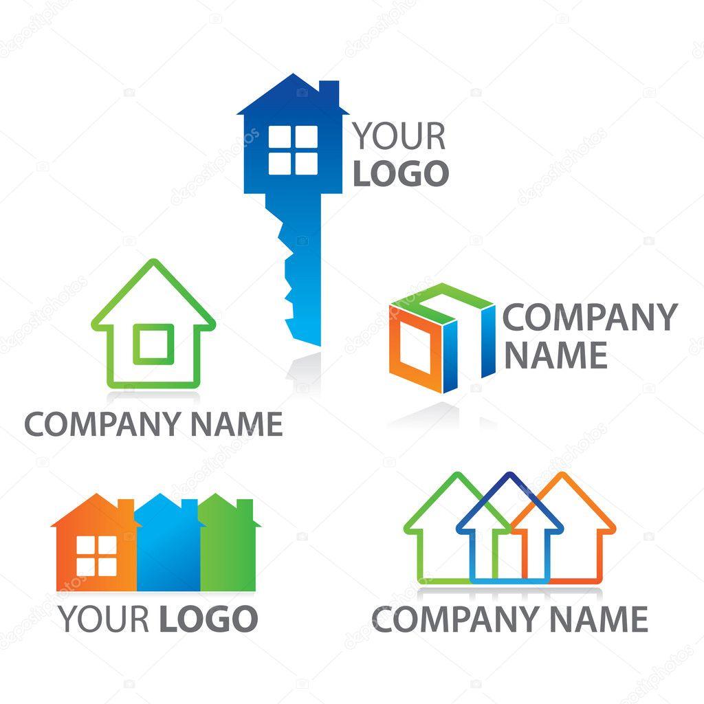 conjunto-plantilla-marca-cabaña-construcción — Vector de stock ...