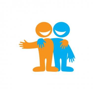 Symbol of friendship. Icon Happy friends. Vector sign. stock vector
