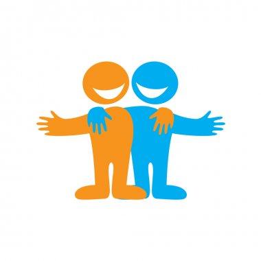 Symbol of friendship. Happy friends. Vector sign. stock vector