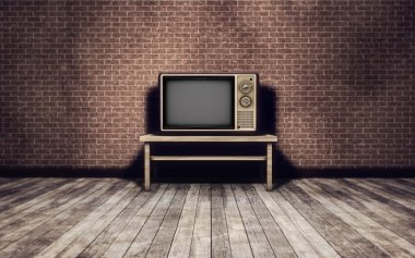 Grunge vintage interior background with old tv stock vector