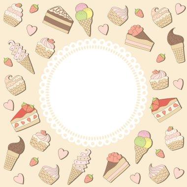 Sweets frame. Vector illustration.