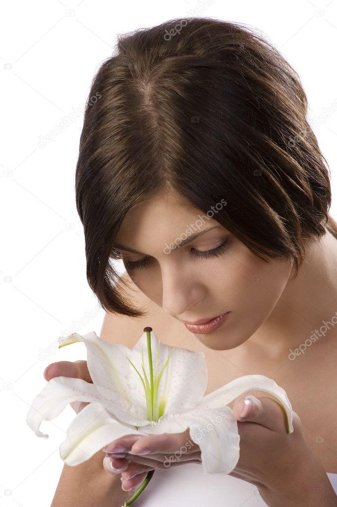 ragazza dolce profumo di un fiore — Foto Stock © carlodapino #6274931