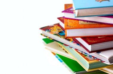 Stack of children's books over white stock vector