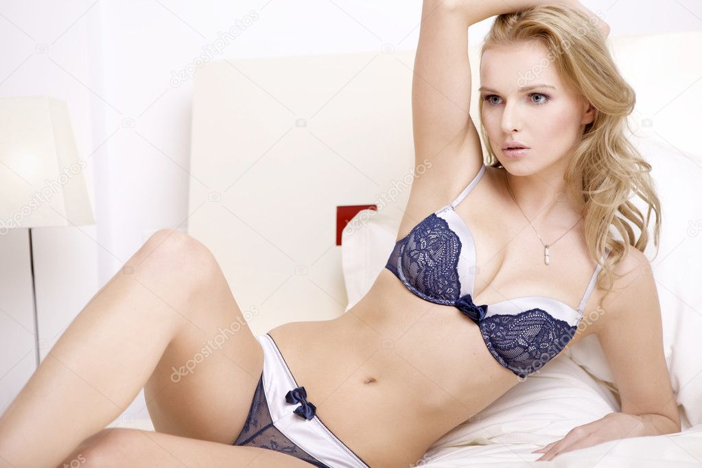 Young sexy blonde in sexy lingerie