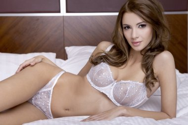 Brunette woman in lingerie