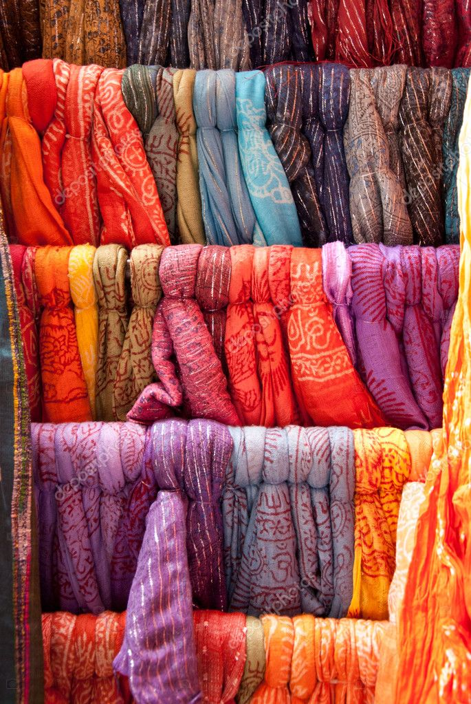 Colorful scarves in a row