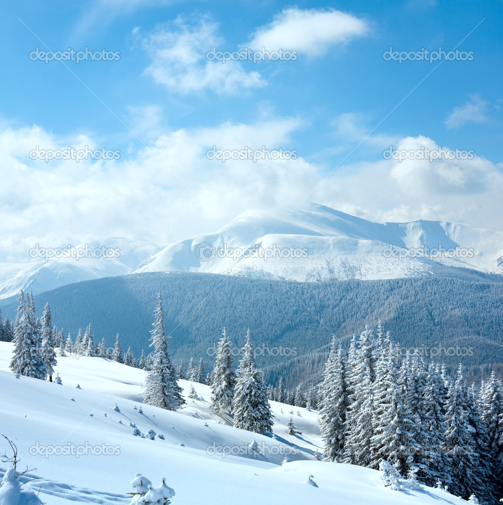 Snowy winter mountain landscape — Stock Photo © wildman ...