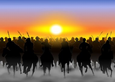 The cavalry rides in the fog, and dust on the background of the rising sun stock vector