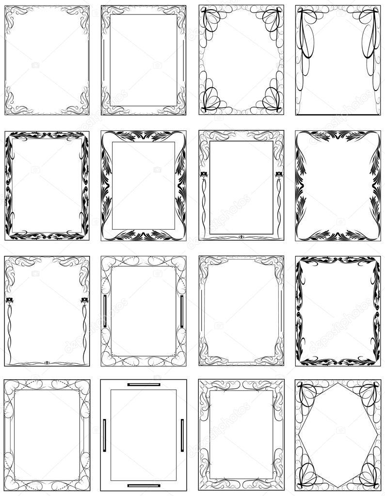 conjunto de Marcos antiguos creativos — Archivo Imágenes Vectoriales ...