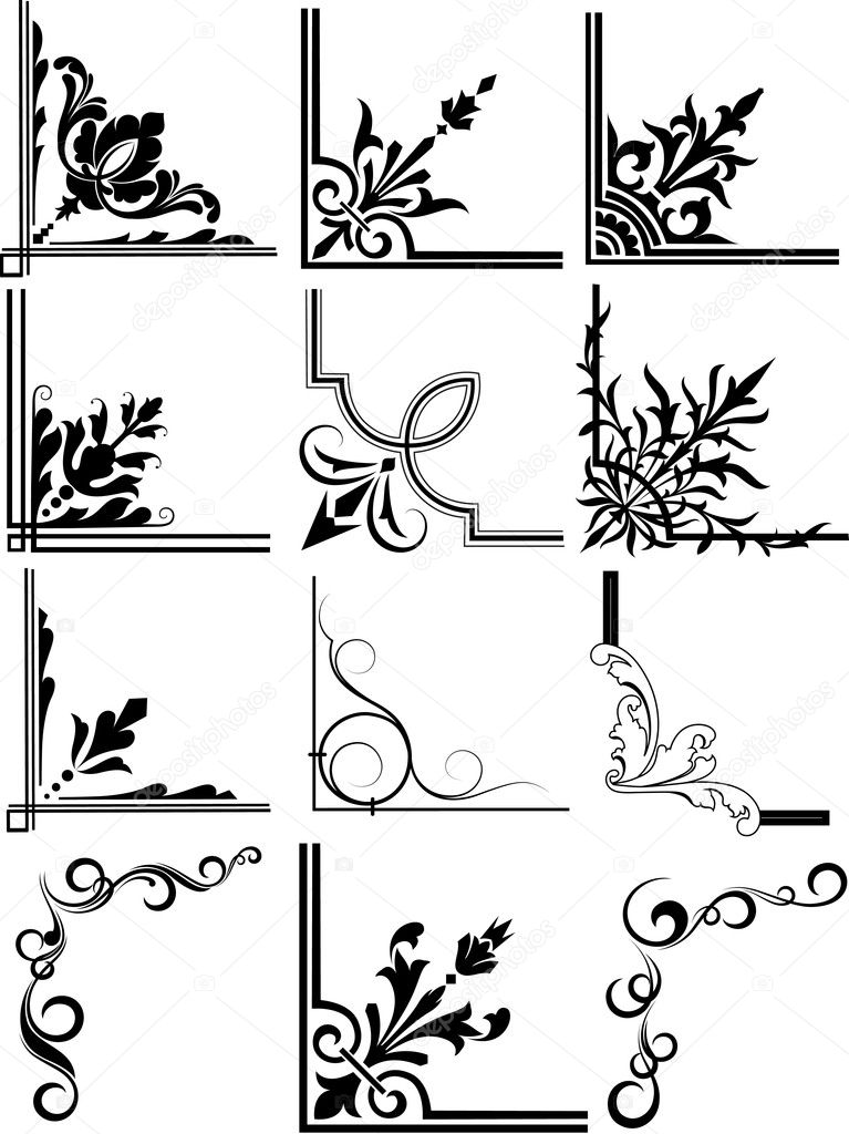 Corner Illustration Elements Frames