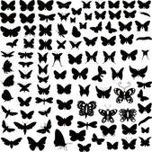 Fotografia grande collezione di sagome di farfalle