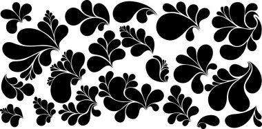 Black Paisley Design Bubbles Vector Shapes