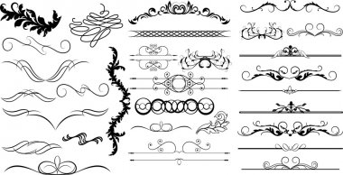 Swirl Spiral Vintage Divider Elements Set