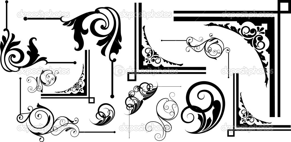 Abstract Isolated Creative Decor Flourish Elements Corner Frame Designs U2014  Vector By Baavli