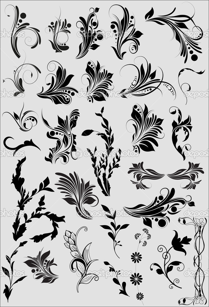 Set Of Black Shape Flourish Elements