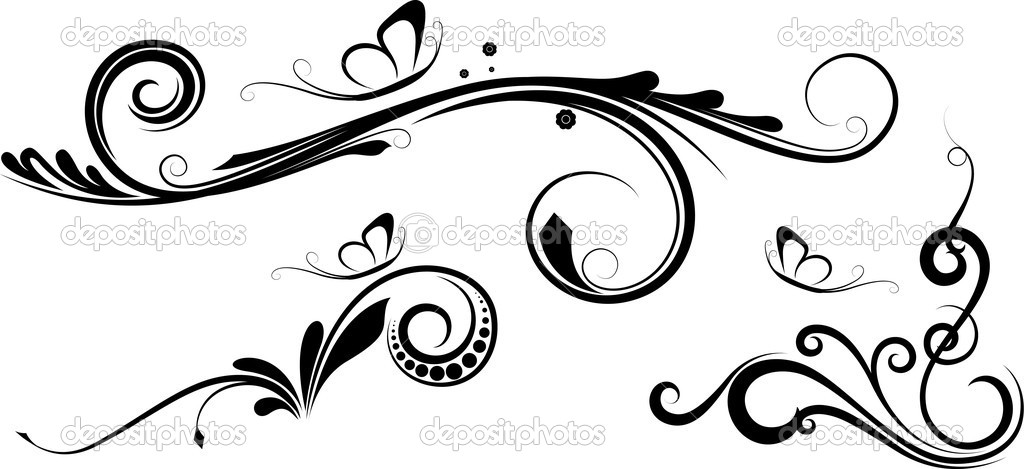 Decorative Art Of Funky Flourish Elements Design