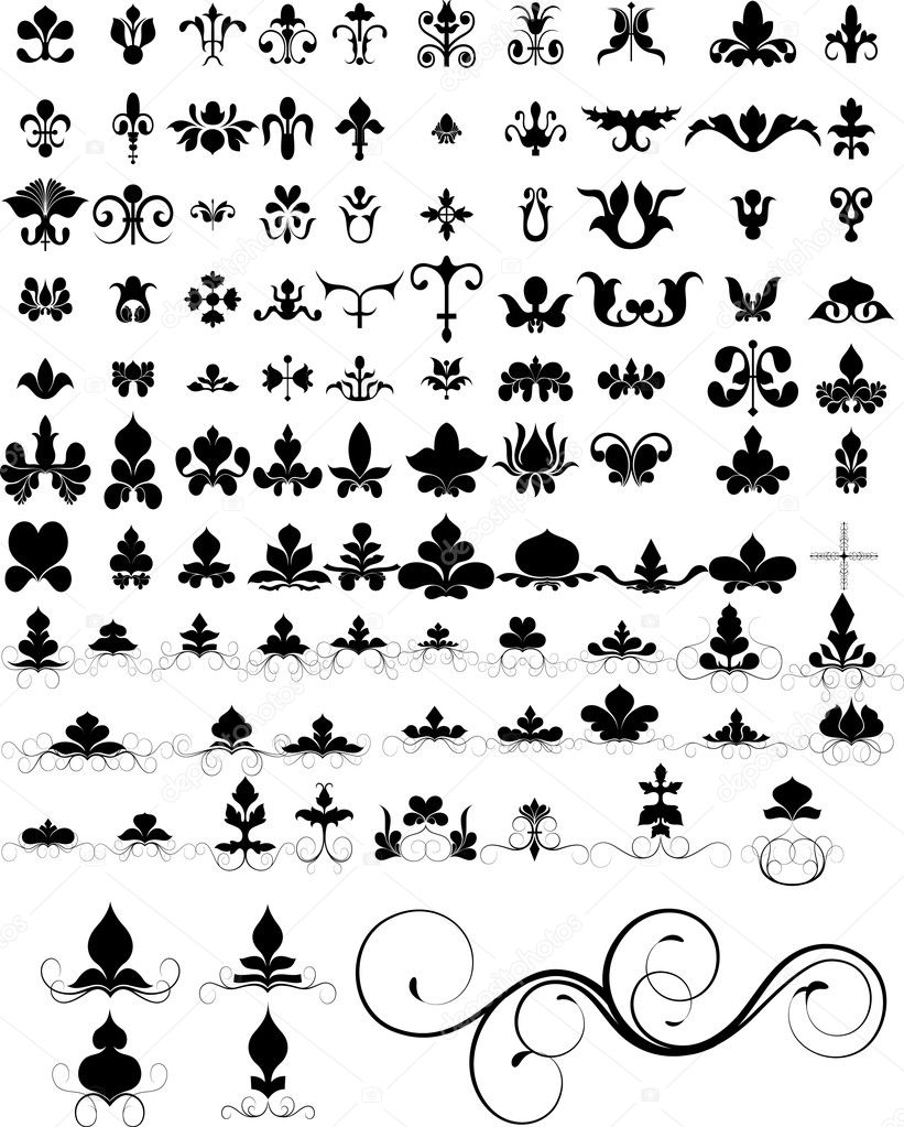 Floral Elements Icons Designs