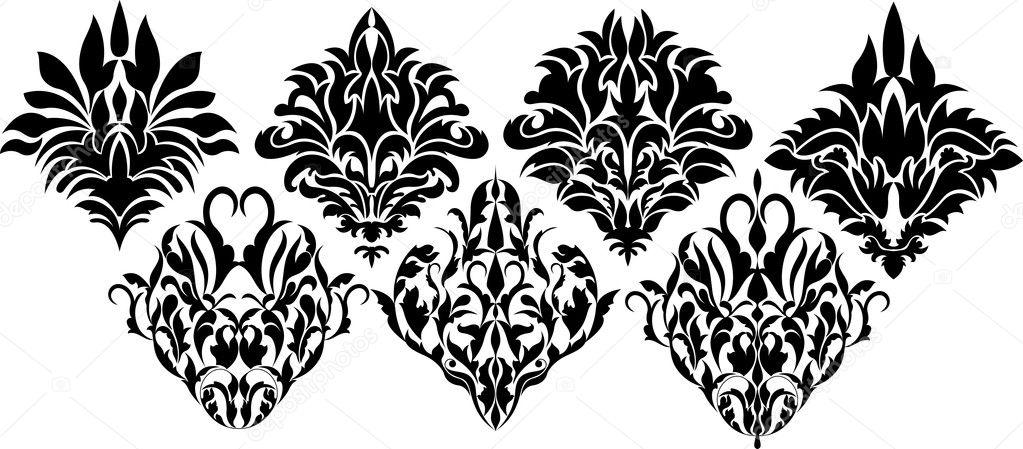 Awesome Damask Floral Element Design
