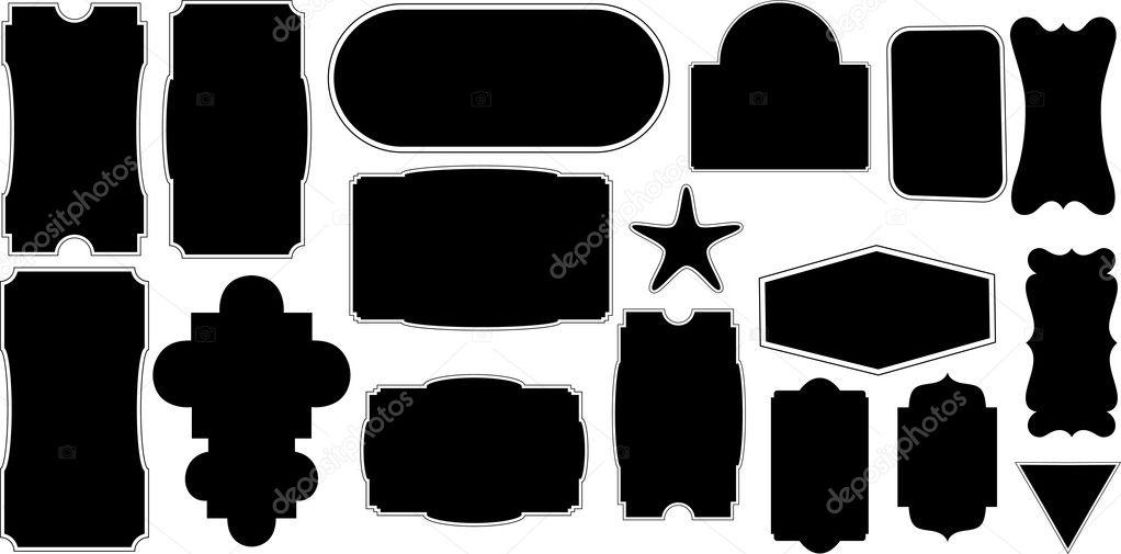 Artistic Vignette Black Shape Frames Designs