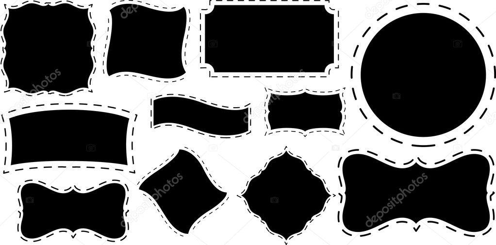 diseños de marcos de forma artística negro — Archivo Imágenes ...