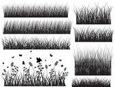 Černá tvar trávy s hmyz