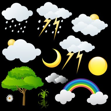 Nature Graphic Elements Clouds n Trees