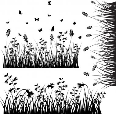 Set Of Flourish Grass Silhouettes Elements