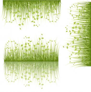 Set Of Swirl Leaf Grasses