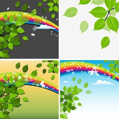 Beautiful Green Leaf Rainbow Background
