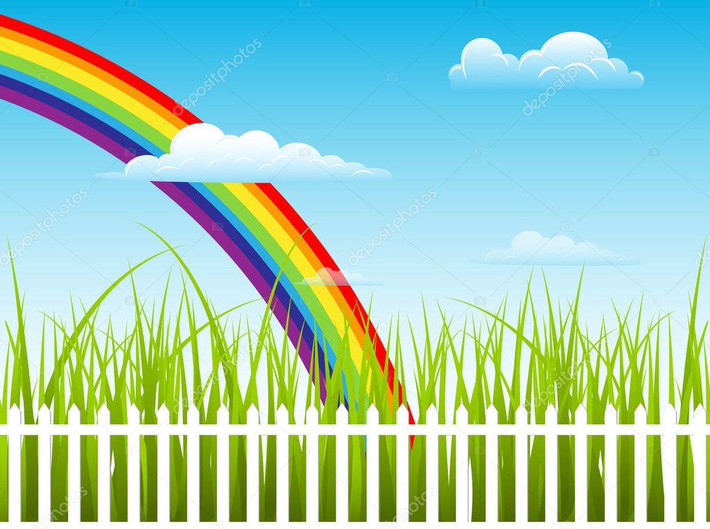 Beautiful Rainbow Behind Green Grass