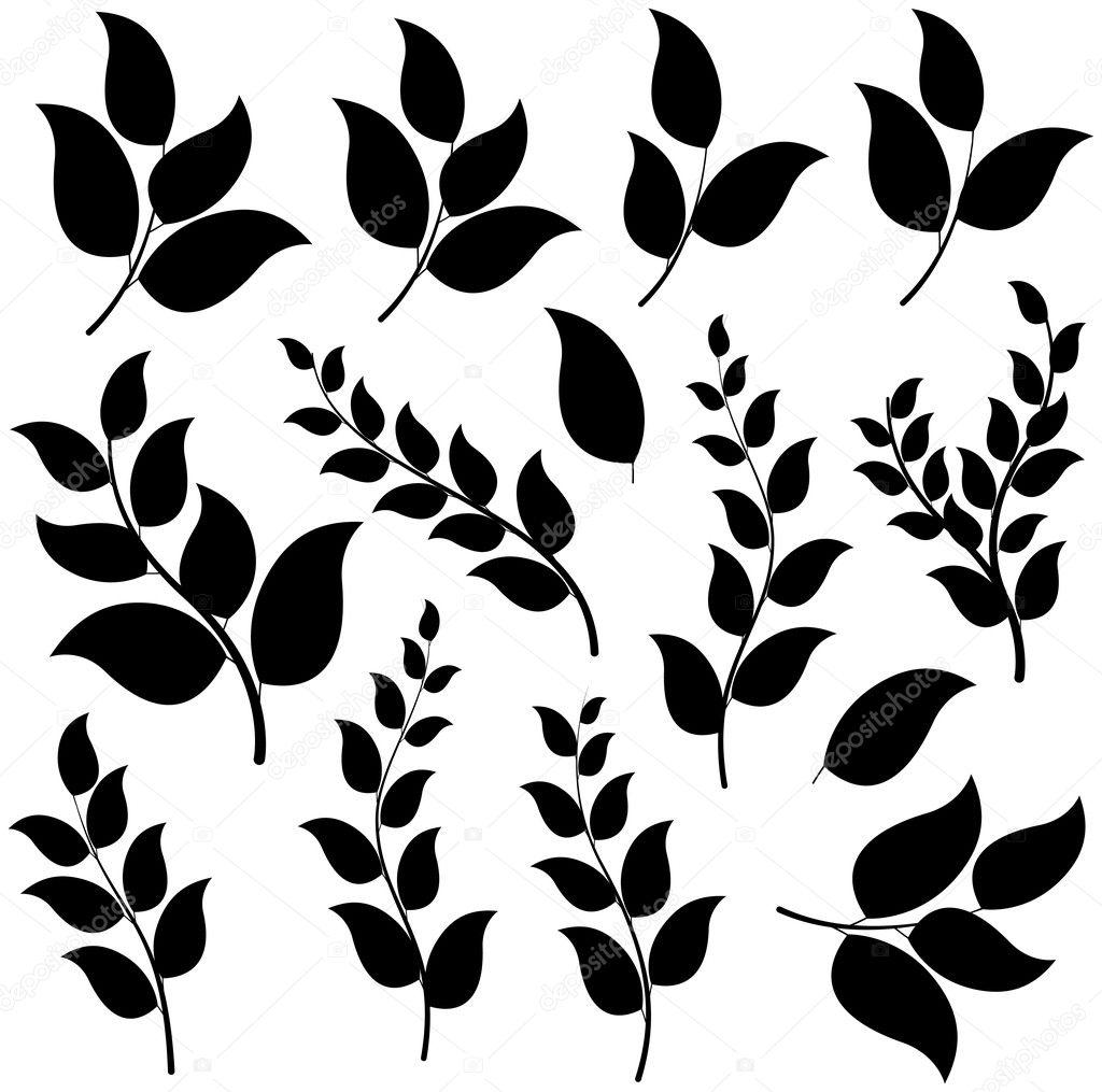 Black Shape Leaf Elements