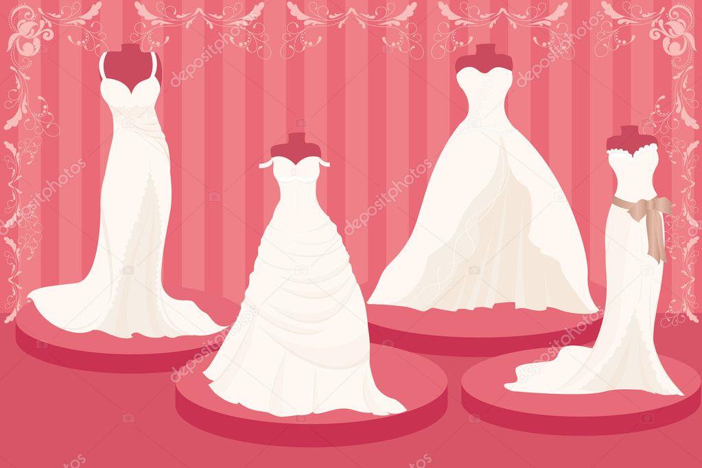 Vestidos de novia — Archivo Imágenes Vectoriales © artisticco #6490533