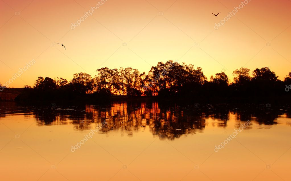 River Sunset Ripples