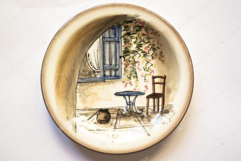 Pannello in ceramica autentica vintage mediterranea greca