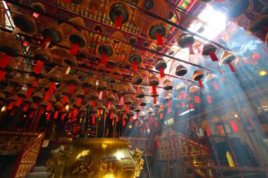 Man Mo temple in Hong Kong with many incense