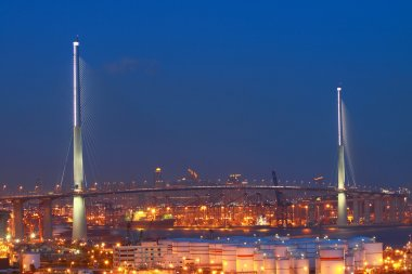 Stonecutters Bridge in Hong Kong with oil tanks