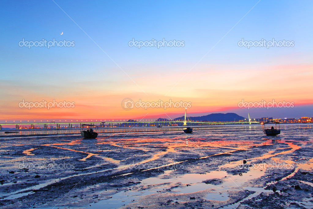 Sunset along the coast in Hong Kong